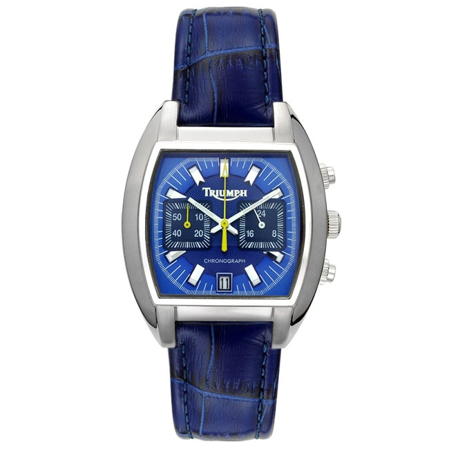 triumph motorcycles blue dial chronograph watch - free shipping