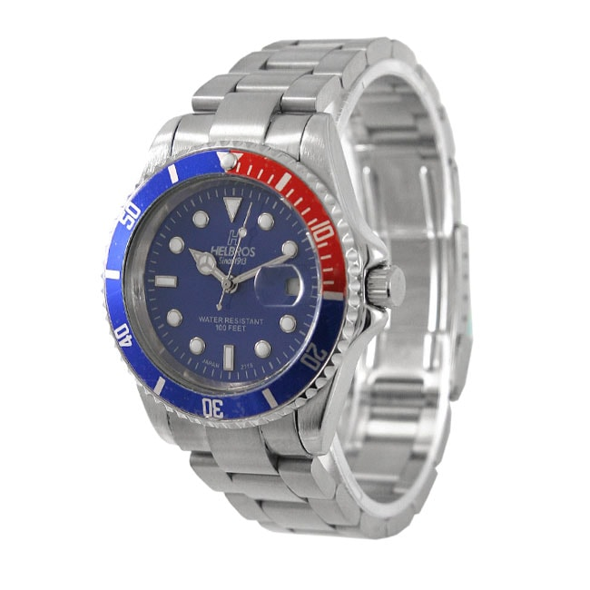 Helbros Men's Blue Dial Stainless Steel Watch
