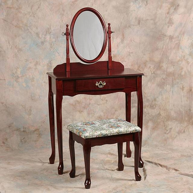 Shop Queen Anne Desk Chair Set Free Shipping Today >> Queen Anne Vanity And Ottoman Set