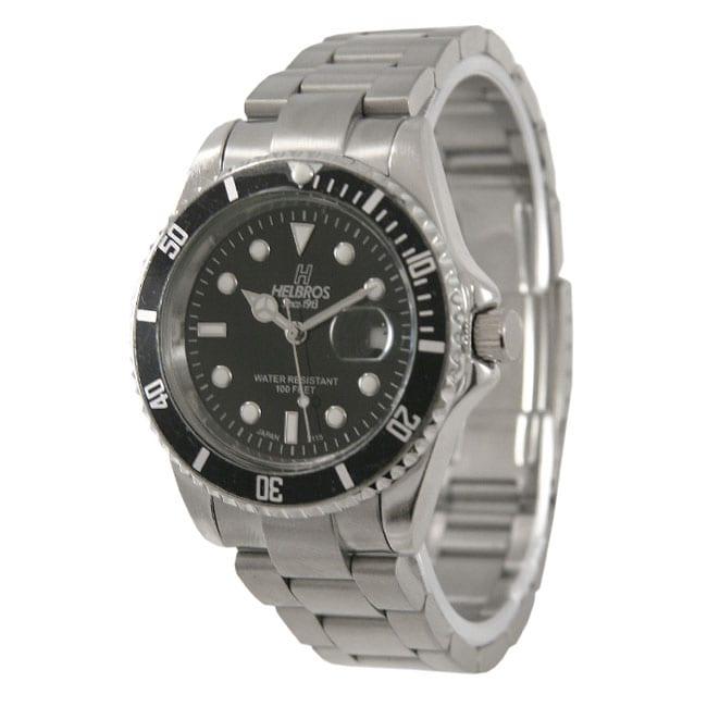 Helbros Men's Black Dial Stainless Steel Watch