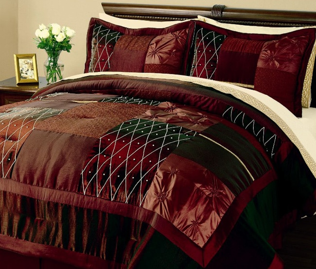 Madura burgundy embroidered satin comforter set 10426171 overstock