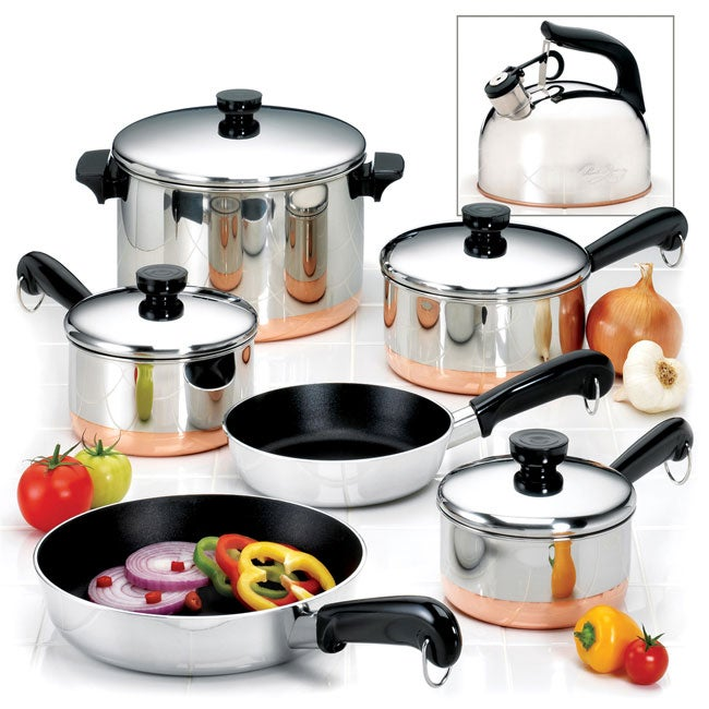 Revere 10 Piece Copper Bottom Cookware Set Free Shipping