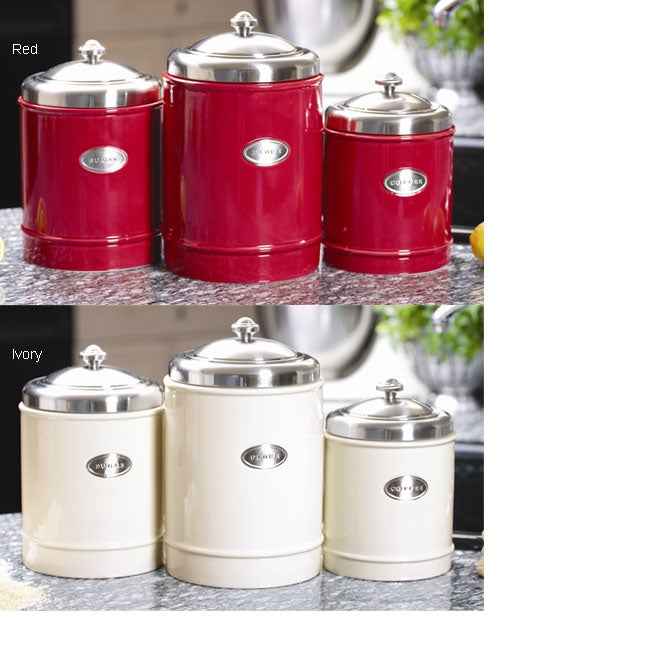 Capriware Ceramic & Stainless Steel Canister Set - Free