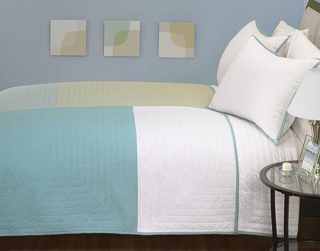 Colorblock Quilt Twin Set (Aqua)