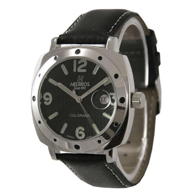 Helbros Men's Colorama Black Dial Strap Watch