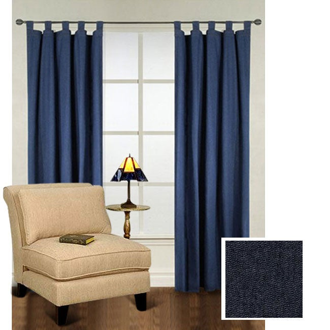 Lambrequin Heavy Denim Tab Top 86-inch Curtain Panel Pair