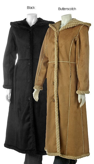 Anne Klein Ultra-long Faux Shearling Coat with Hood - Free ...