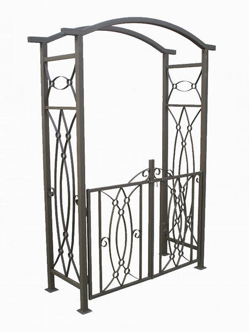 Constaine Wrought Iron Garden Arbor with Gate Free Shipping