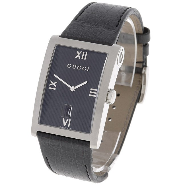 14b9384eaa5 Shop Gucci 8600 Style Men s Large Leather Strap Watch - Free Shipping Today  - Overstock - 2179404