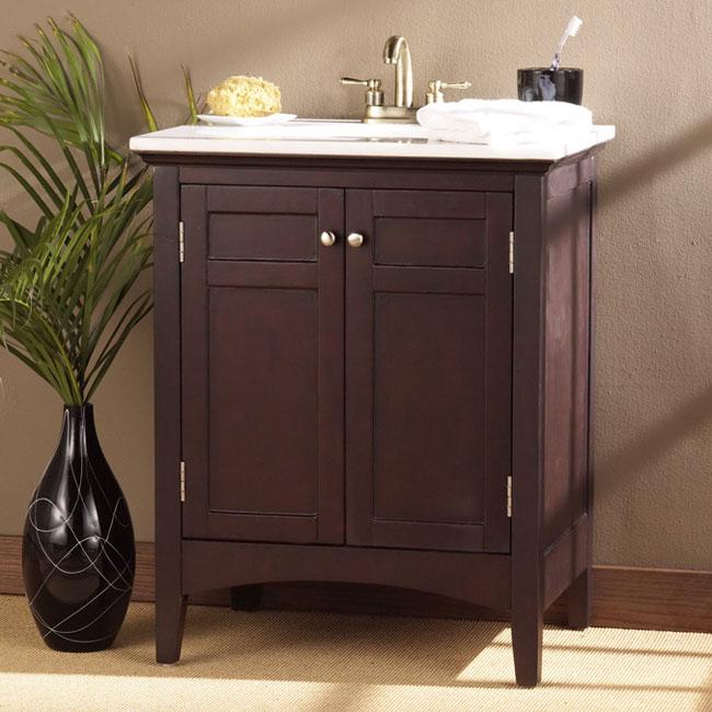 Espresso Finish Marble Top Vanity Sink