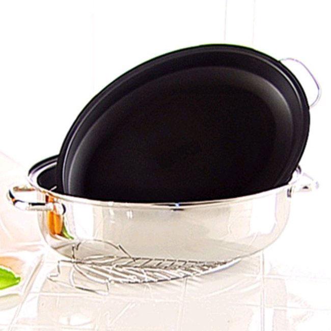 Ultrex Vantage 15 In Roasting Pan W Rack And Lid Free