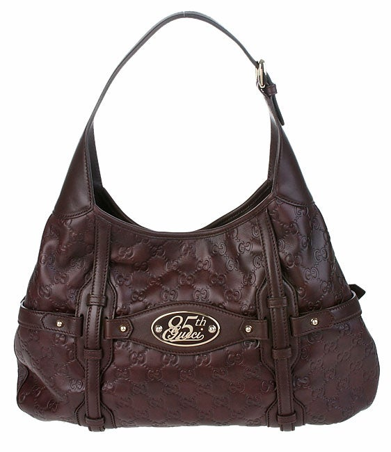b81d6fea5334 Shop Gucci Embossed Logo Leather 85th Anniversary Hobo Bag - Free Shipping  Today - Overstock - 2199845