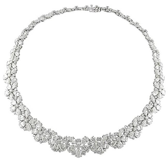 18k White Gold 64 3/8ct TDW Diamond Necklace (G-I, I1-I2)