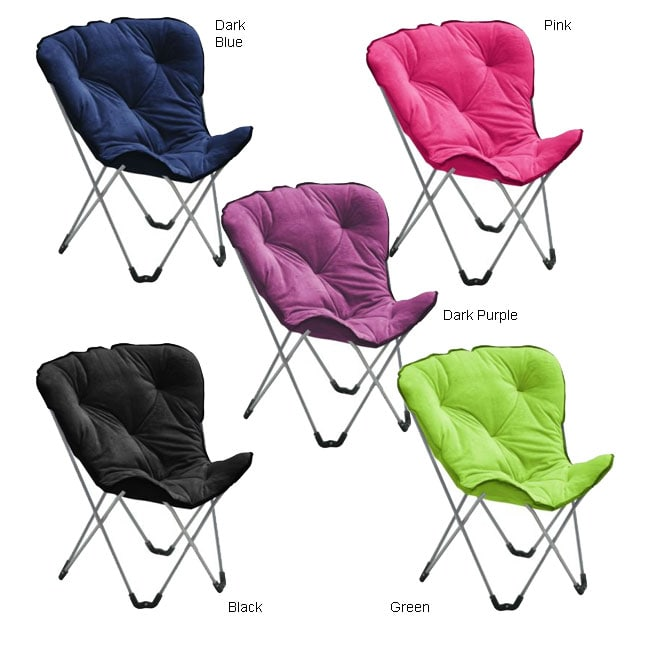 Merveilleux Plush Cushioned Folding Butterfly Chair