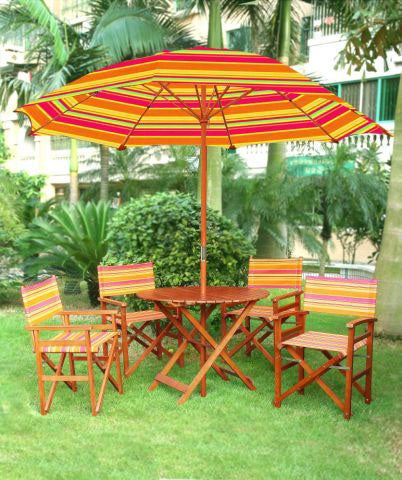 Directors Chair Patio Table, Chairs & Umbrella Set