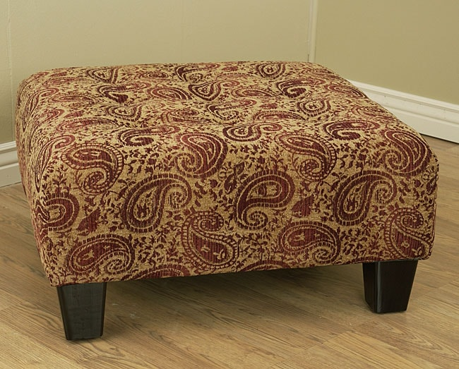 Paisley Burgundy Button Tufted Cocktail Ottoman Free
