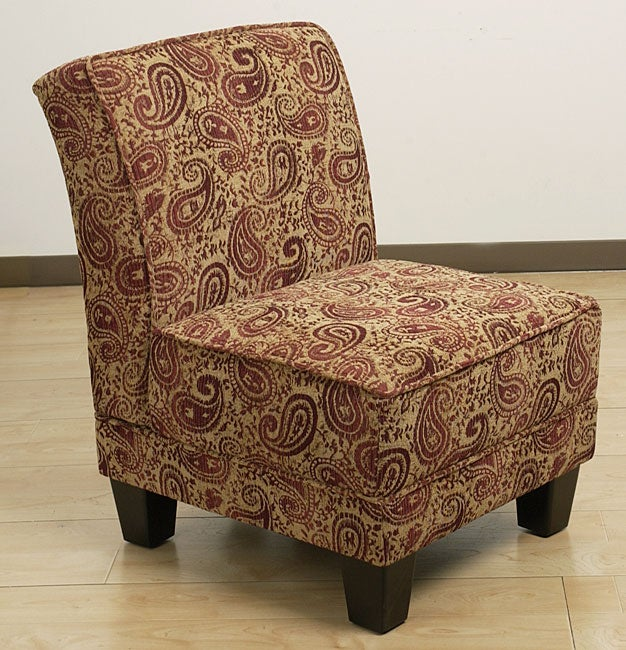 Paisley Burgundy Welted Slipper Chair Free Shipping
