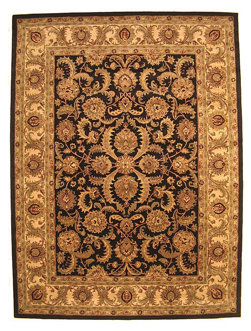 Hand-tufted Wool Black Traditional Oriental Persian Rug (8'9 x 11'9)
