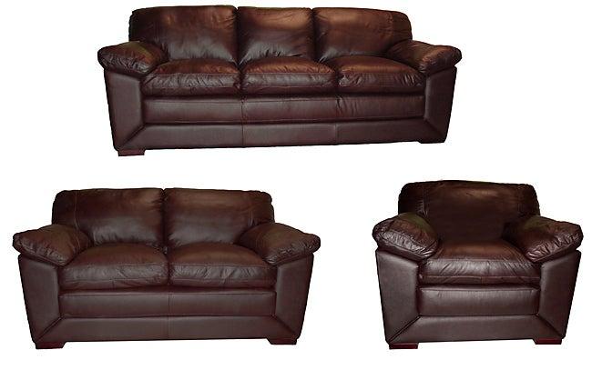 Soft Chocolate Leather Sofa, Loveseat, U0026amp; ...