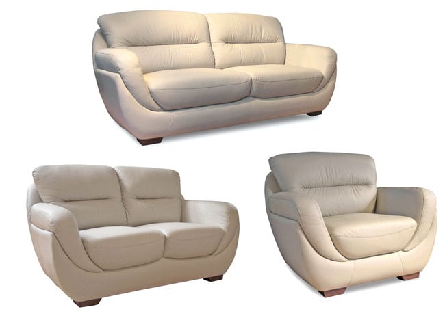 Bone Leather Sofa, Loveseat, & Chair