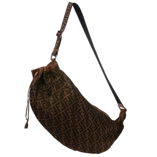 f5cc4779bdb8 Shop Fendi Big Zucca Print Drawstring Sling Bag - Free Shipping Today -  Overstock - 2256979
