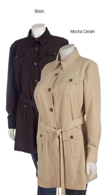 Plus Size Belted Safari Jacket