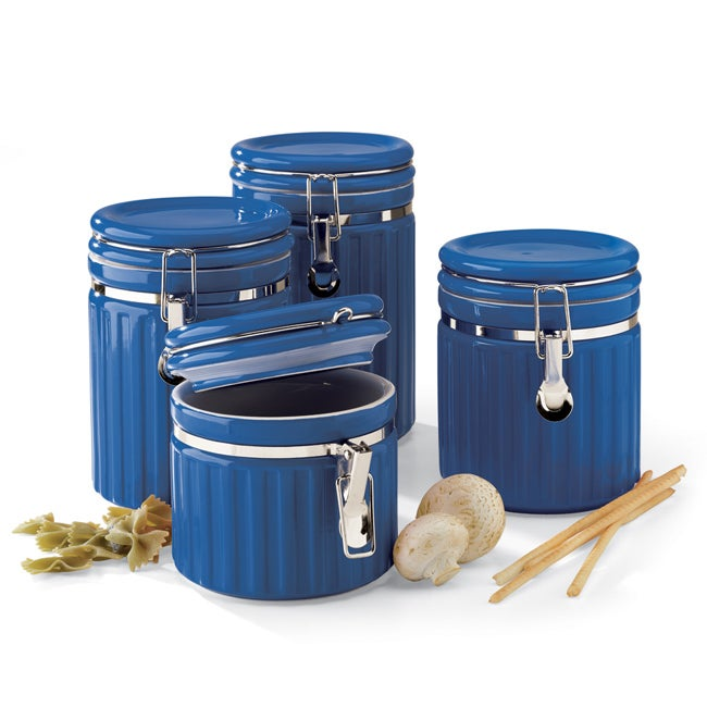 Mayfair jackson 4 piece blue canister set free for Blue kitchen set