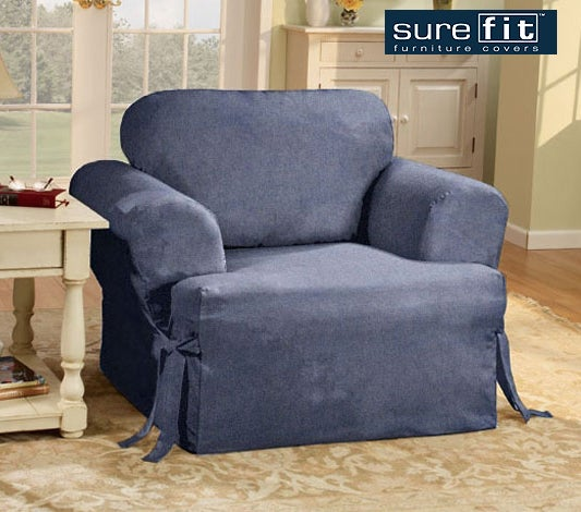 sure fit blue jeans tcushion chair slipcover