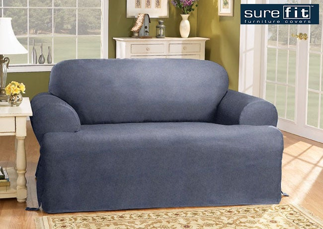 Shop Sure Fit Blue Jeans T Cushion Sofa Slipcover Free Shipping