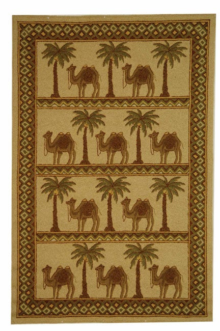 Safavieh Hand-hooked Camel Ivory/ Camel Wool Rug - 5'3 x 8'3