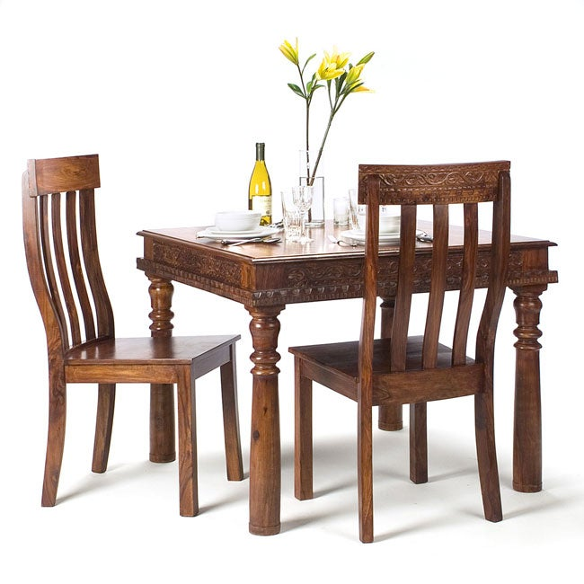 handmade hand carved rosewood dining table chairs set india free shipping today. Black Bedroom Furniture Sets. Home Design Ideas