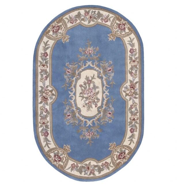 Nourison Hand-tufted Aubusson Garden Blue Wool Rug (8' X 8