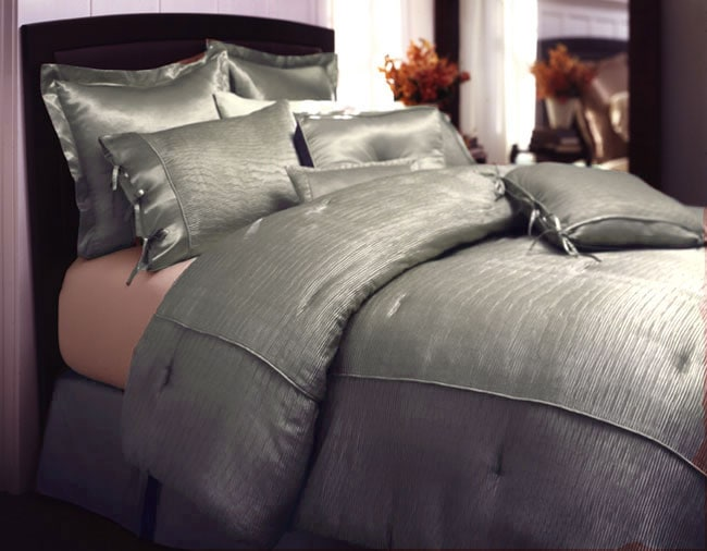 Shop Pebbled Satin Blue Queen Size Duvet Cover Set Free Shipping