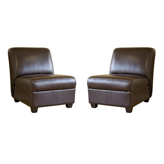 Bernay Espresso Brown Faux Leather Club Chairs Set Of 2 Free Shipping Today Overstock Com