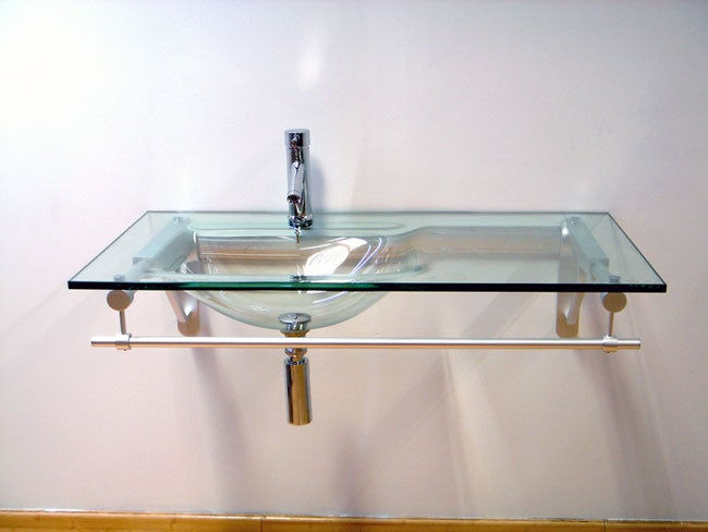Glass Sink Bathroom Vanity : Modern Glass Vanity with Formed Glass Sink - Free Shipping Today ...