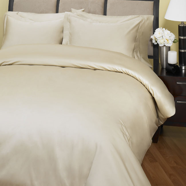 500 Thread Count Embroidered Duvet Cover Set (Taupe)