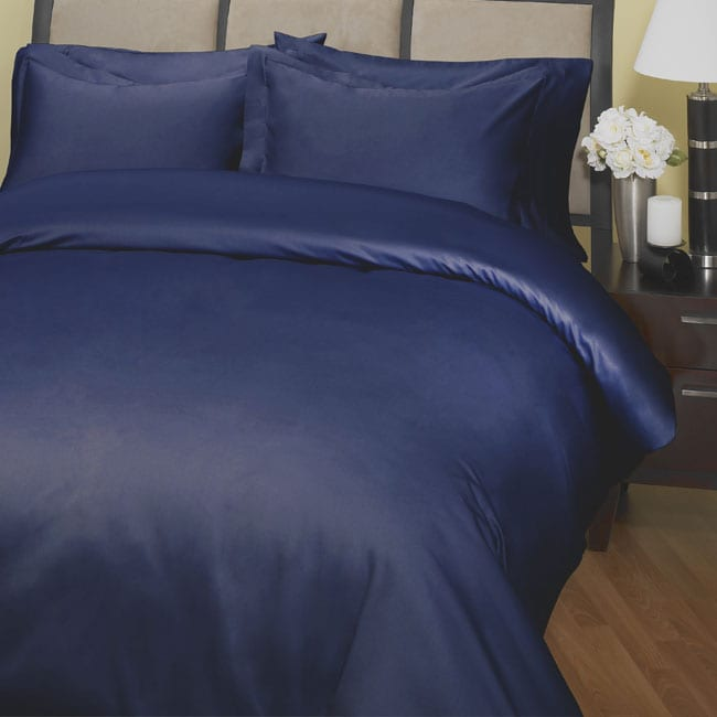 500 Thread Count Embroidered Duvet Cover Set (Navy)