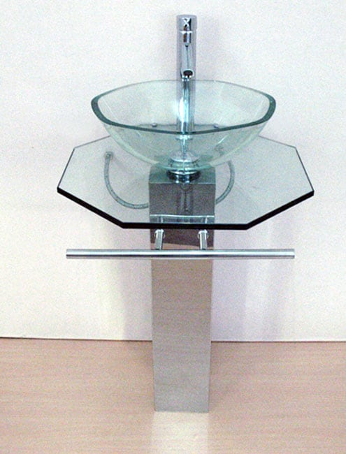 Pedestal Glass Sink With Stainless Steel Stand Free