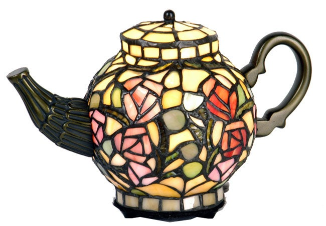 Tiffany-style Floral Teapot Light