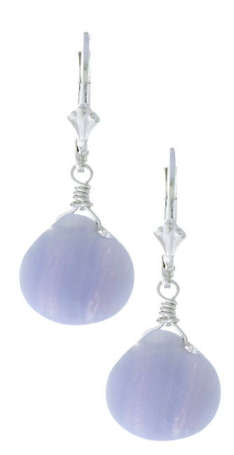 Lola's Jewelry Blue Lace Agate Gemstone Briolette Earrings