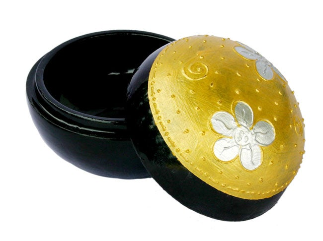 Handmade Black Lacquer Gold Decorative Sphere Box