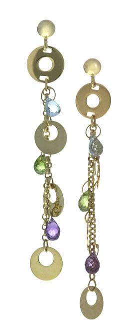 Multi Semi Precious Stones & Circles Drop Earrings