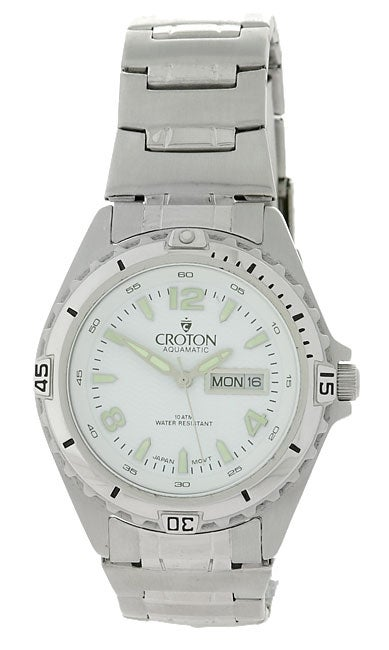 Croton Men's White Dial Stainless Steel Watch