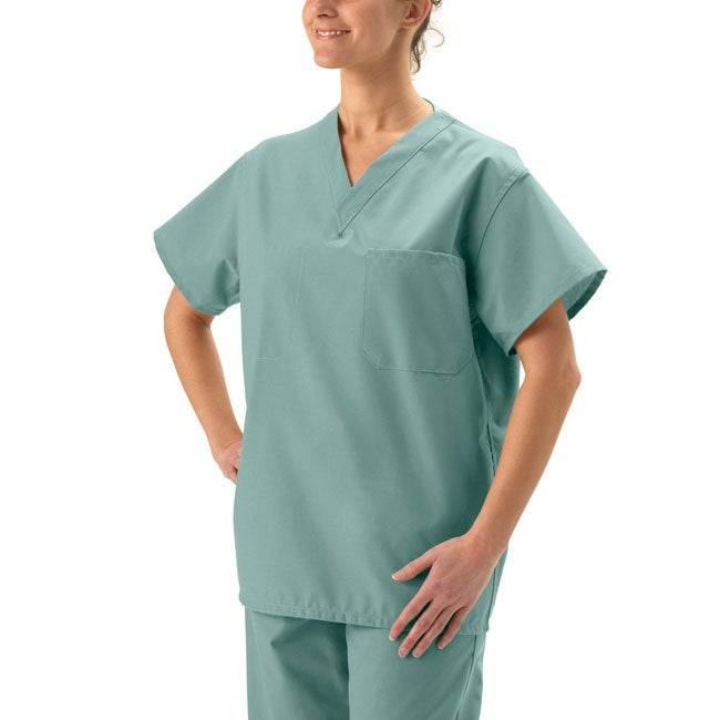 cc5665e6ddd Shop Medline Unisex Misty Green Reversible Scrub Top - Ships To ...