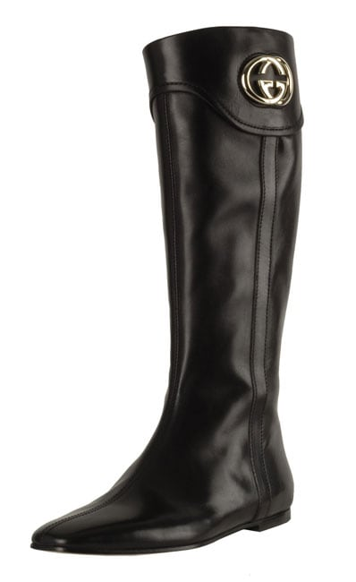 7f95fa92712f Shop Gucci Black Leather Britt Interlocking  G  Boots - Free Shipping Today  - Overstock - 2325855