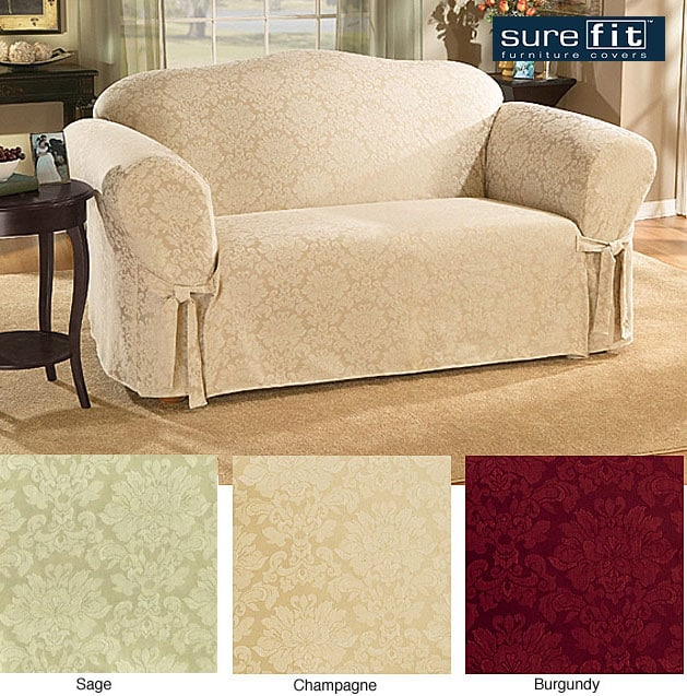Sure Fit Normandy Damask Washable Sofa Slipcover