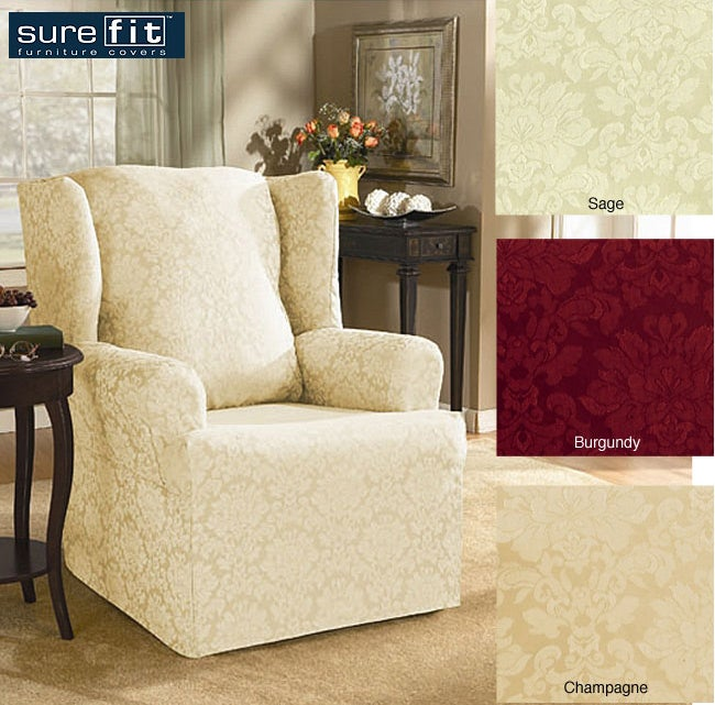 Sure Fit Normandy Damask Wing Chair Slipcover