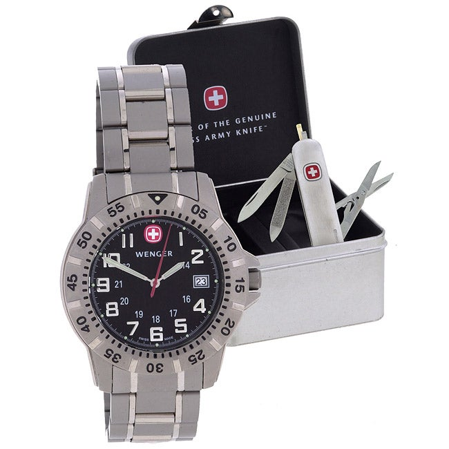 Wenger Swiss Army Knife And Titanium Watch Gift Set Free