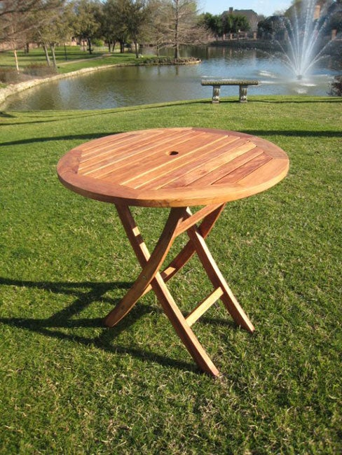 Outdoor Round 28 inch Folding Table With Umbrella Hole