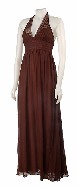 BCBG Max Azria Long Chiffon Halter Dress